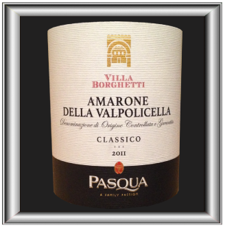AMARONE 2011le vin de Pasqua Villa Borghetti pour notre blog sur le vin