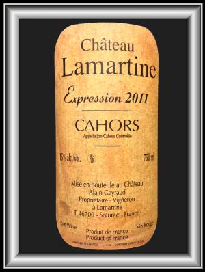 EXPRESSION 2011 le Cahors du Château Lamartine pour notre blog sur le vin