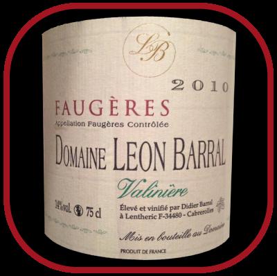 VALINIÈRE 2010 le vin du Domaine Léon Barral pour notre blog sur le vin