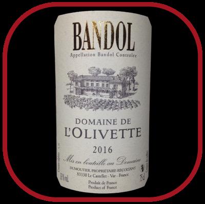 Bandol 2016 le vin du domaine de l'Olivette pour notre blog sur le vin
