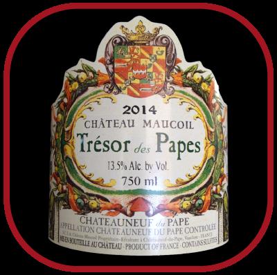 Trésor des Papes le vin du Château Maucoil pour notre blog sur le vin